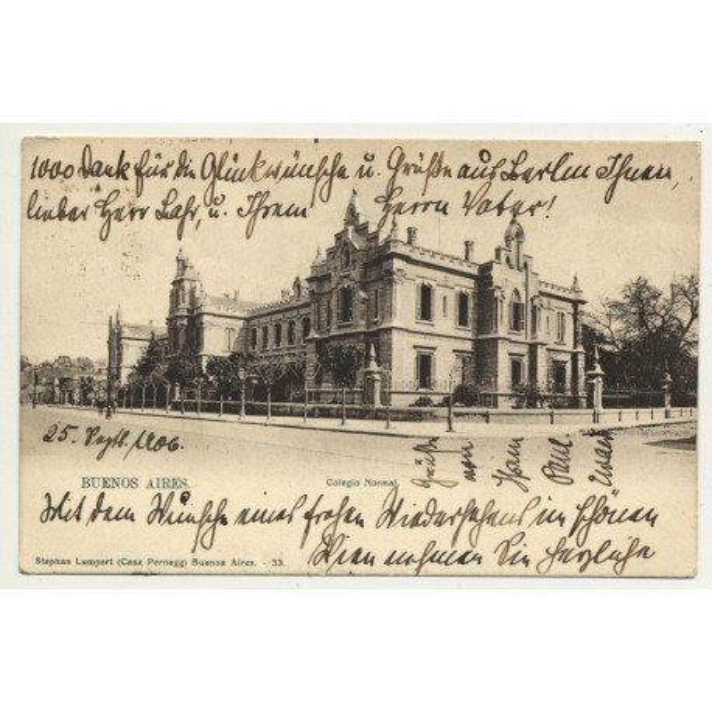 Buenos Aires / Argentina: Colegio Normal (Vintage Postcard 1906)