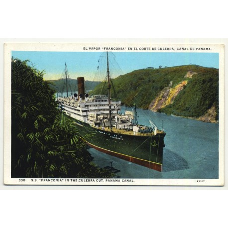 S.S. Franconia In The Culebra Cut / Panama Canal (Vintage Postcard ~1920s)