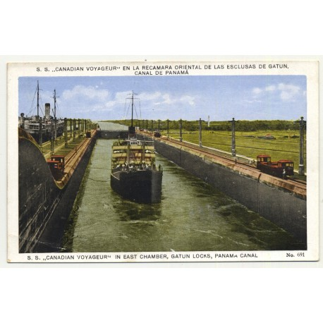 S.S. Canadian Voyageur In East Chamber, Gatun Locks / Panama Canal (Vintage Postcard ~1920s)