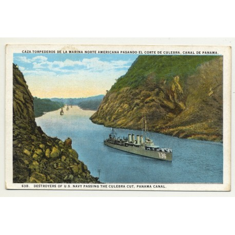 Destroyers Of U.S. Navy Passing The Culebra Cut / Panama Canal (Vintage Postcard ~1920s)