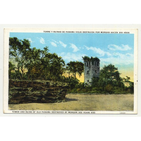 Tower And Ruins Of Old Panama Destroyed By Morgan 300 Years Ago (Vintage Postcard ~1920s)