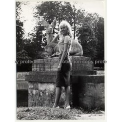 Blonde Woman In Front Of Deer Sculpture (Vintage Fashion Photo  ~1960s)