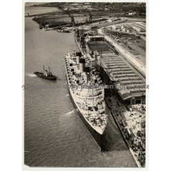 TS Queen Mary At Southampton Docks (Vintage Air Photo: March 20th 1957)