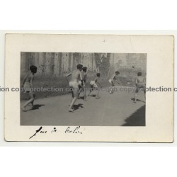 Junin / Peru: Group Of Pupils Play Ball In Schoolyard (Vintage RPPC 1921)