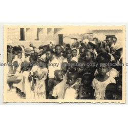 Meeting Of Congolese Village Population / Ethnic (Vintage RPPC B/W Gevaert ~1930s)
