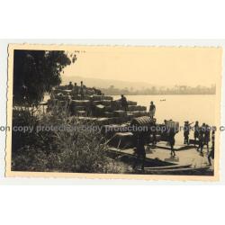 Bangu / Congo: Unloading Cotton From Boat (Vintage RPPC B/W Gevaert ~1930s)