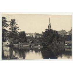 6270 Tonder / Denmark: River - Boat - Steeple  (Vintage RPPC B/W 1929)