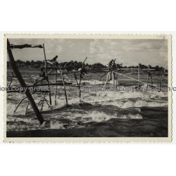 Congo / Africa: Fishermen Sitting On Fish Traps / Stanley Falls (Vintage RPPC B/W ~1920s/1930s)