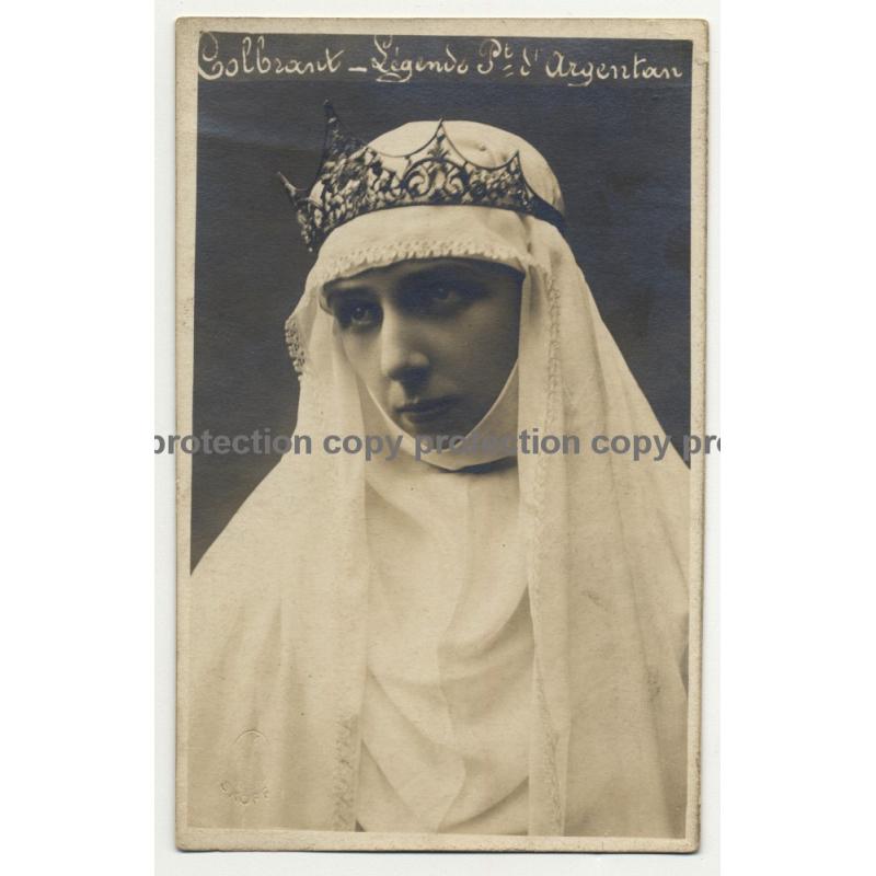 Actress: Colbrant / Légende Du Point D'Argentan (Vintage RPPC B/W ~1900s/1910s)