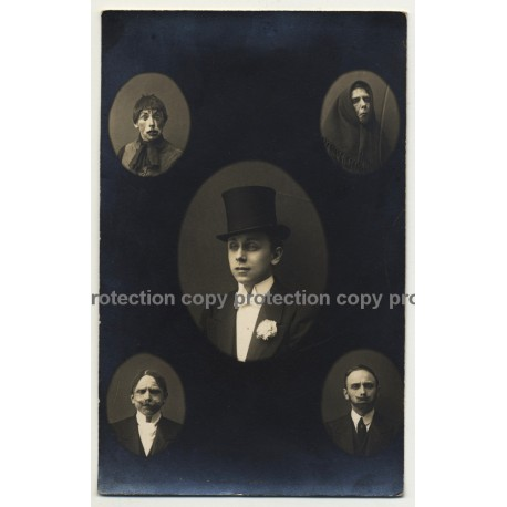 Sedcard Of Actor In Different Roles (Vintage RPPC B/W ~1900s/1910s)