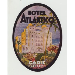 Hotel Atlantico - Cadiz / Spain (Vintage Luggage Label)