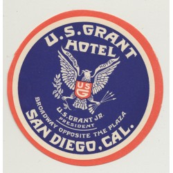 U.S. Grant Hotel - San Diego / USA (Vintage Luggage Label)