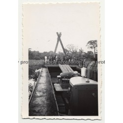 Gabenge - Bolobo / Congo: Big Dredge At Work *3 / Water Pipe (Vintage Photo B/W 1946)