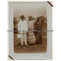 Africa: Congolese Man & 2 Women / White Suit / Safari Hat (Vintage Photo Sepia 1920s/1930s)