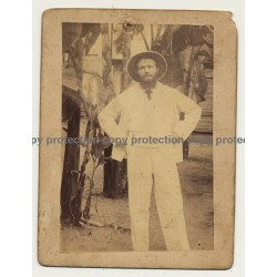 Malari / India: Missionary In White Clothes With Colonial Hat (Vintage Photo Sepia 1903)