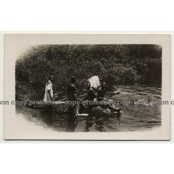 Africa: Young Congolese People Swim In River (Vintage RPPC B/W 1930s/1940s)