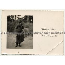 Congo X-Mas Card: Tribal Warrior / A. Melo - Stanleyville (Vintage RPPC B/W 1950s)