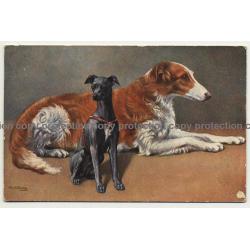 Portrait Of 2 Dogs (Vintage Artist Postcard: Egemes Serie 90)