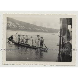 Congo / Africa: Colonial Masters On Dugout / Lake (Vintage Photo B/W ~1930s/1940s)