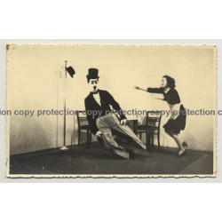Charlie Chaplin Puppet? And Maid / Theater Scene (Vintage RPPC Agfa ~ 1950s)