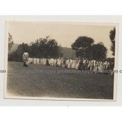 Congo / Africa: Huge Tribal Meeting On Field / Spears (Vintage Photo B/W ~1930s/1940s)