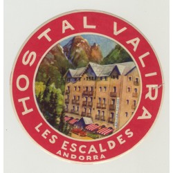 Hostal Valira - Les Escaldes / Andorra (Vintage Luggage Label)
