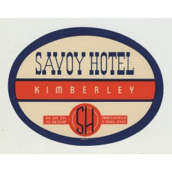 Savoy Hotel - Kimberley / South Africa (Vintage Luggage Label)