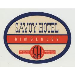 Savoy Hotel - Kimberley / South Africa (Vintage Luggage Label)