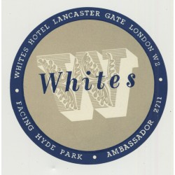 Whites Hotel - London / Great Britain (Vintage Luggage Label)