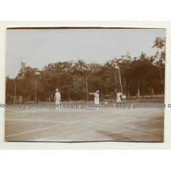 Elisabethville / Congo: Mixed Double On Tennis Court *2 / Club B.C.K. (Vintage Photo Sepia 1934)