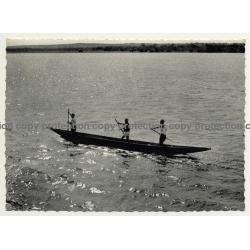 Congo / Africa: 3 Guys On Dugout (Vintage RPPC 1958)