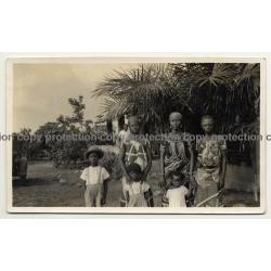 Congo / Africa: 3 Congolese Women & Kids / Headdress (Vintage Photo B/W ~1930s/1940s)