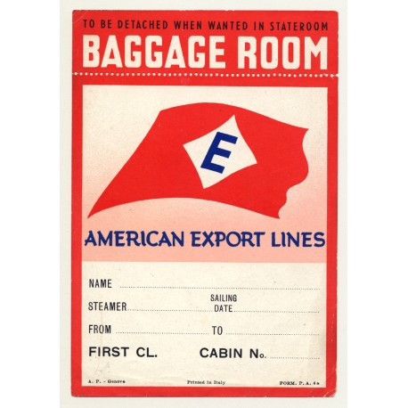 American Export Lines / Baggage Room 'E' Class (Vintage Luggage Label)