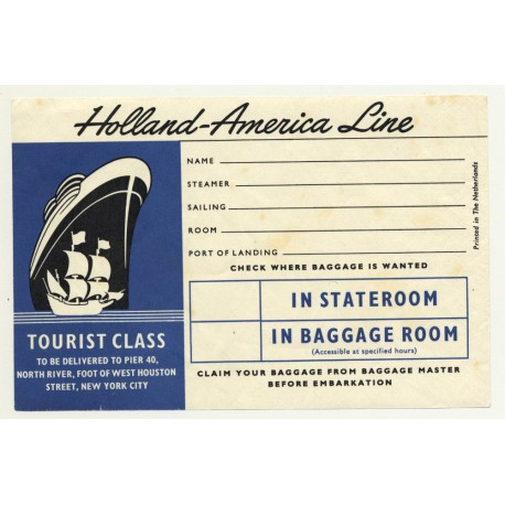 Holland-America Line / Tourist Class (Vintage Luggage Labe ~1950sl)
