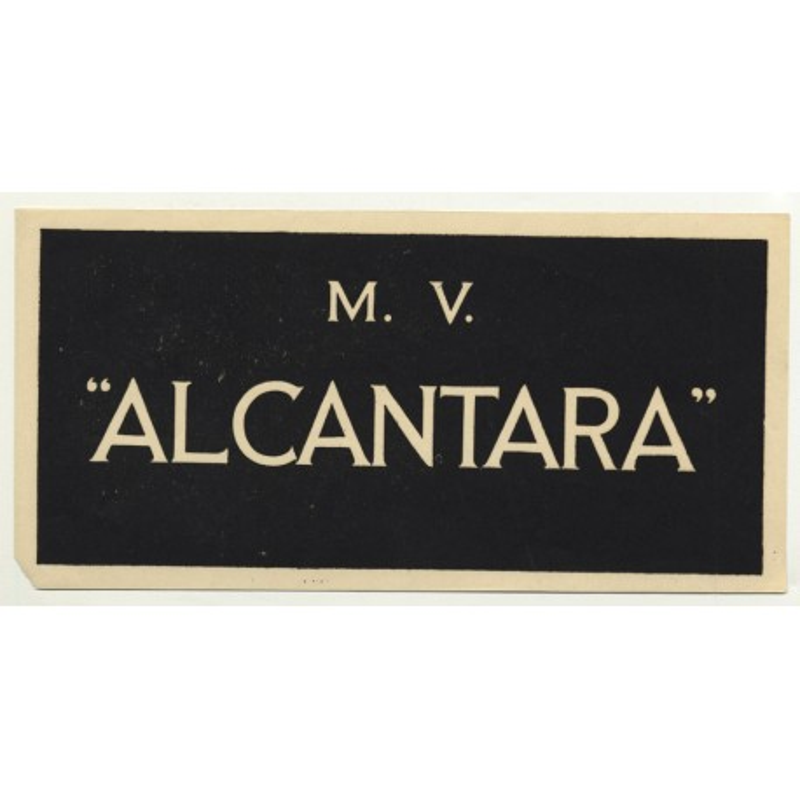 Royal Mail Ship: M. V. Alcantara (Vintage Luggage Label)