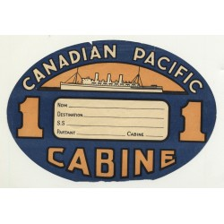 Canadian Pacific - Cabine - 1st Class (Vintage Shipping Line Luggage Label)