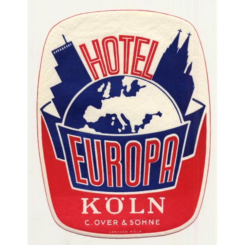 Hotel Europa - Köln / Germany (Vintage Luggage Label)