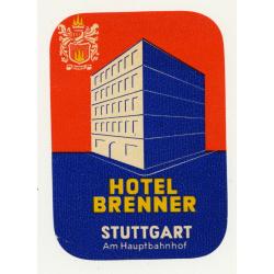Hotel Brenner - Stuttgart am Hauptbahnhof / Germany (Vintage Luggage Label)