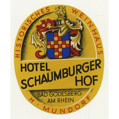 Hotel Schaumburger Hof - Bad Godesberg Am Rhein / Germany (Vintage Luggage Label)