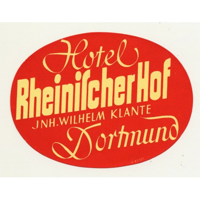 Hotel Rheinischer Hof - Dortmund / Germany (Vintage Luggage Label)