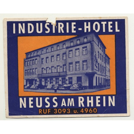 Industrie-Hotel - Neuss Am Rhein / Germany (Vintage Luggage Label ~1950s)