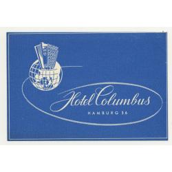 Hotel Columbus - Hamburg 36 / Germany (Vintage Luggage Label)