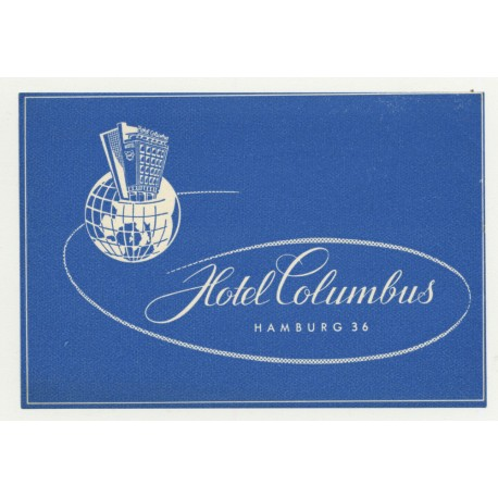 Hotel Columbus - Hamburg 36 / Germany (Vintage Luggage Label)