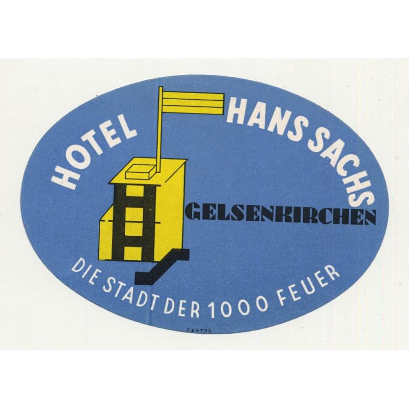 Hotel Hans Sachs - Gelsenkirchen / Germany (Vintage Luggage Label)