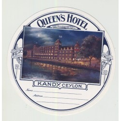 Queen's Hotel - Kandy / Ceylon (Vintage Luggage Label)