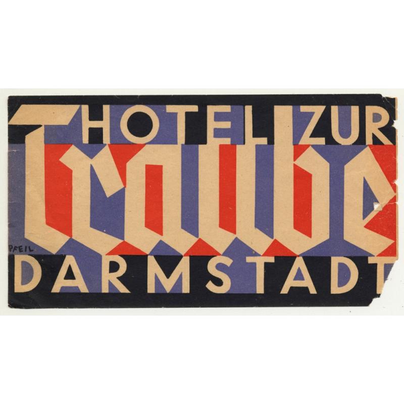 Hotel Zur Traube - Darmstadt / Germany (Vintage Luggage Label)