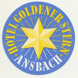 Hotel Goldener Stern - Ansbach / Germany (Vintage Luggage Label)