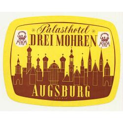 Palasthotel Drei Mohren - Augsburg / Germany (Vintage Luggage Label)