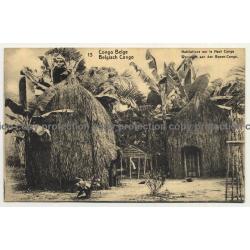 Congo Belge 13: Habitations Sur Le Haut Congo (Vintage Postal Stationery 1918)