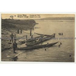 Congo Belge 41: Pirogues Sur L'Uele / Dugout (Vintage Postal Stationery 191?)